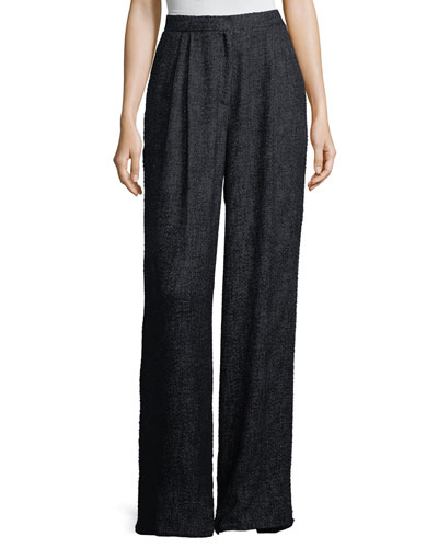Hester High-Waist Wide-Leg Tweed Pants