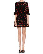 Jewel-Neck Petal-Print 3/4-Sleeve A-Line Dress