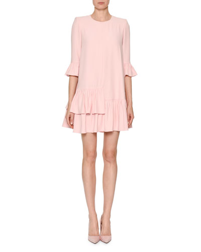 Jewel-Neck 3/4-Sleeve A-Line Crepe Dress with Flounce Hem
