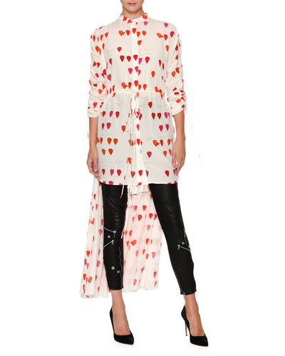 Petal-Print Drawstring High-Low Silk Blouse
