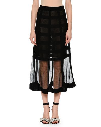 Sheer-Grid Mesh Tea-Length Pull-On Skirt