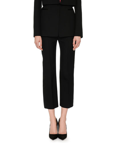 High-Waist Wool-Silk Cropped Tux Pants
