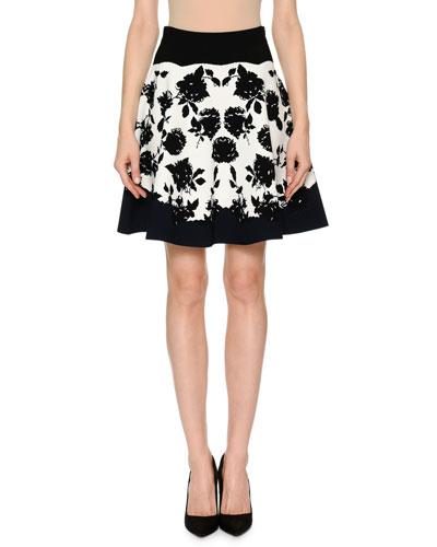 Rose-Jacquard Knit Flare Short Skirt