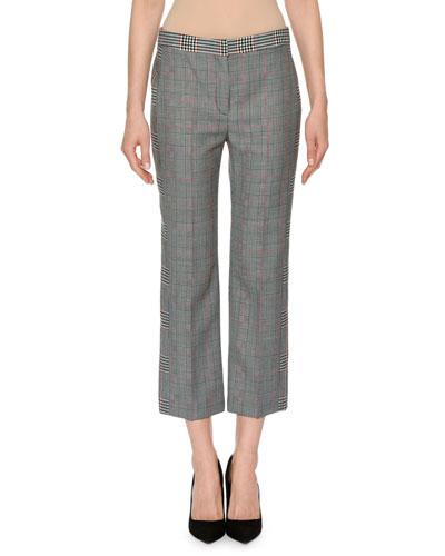 Slim-Fit Straight-Leg Patchwork Plaid Ankle Pants