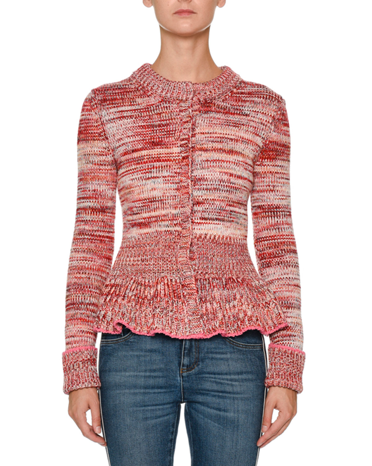 Crewneck Long-Sleeve Tweed Peplum Cardigan Sweater