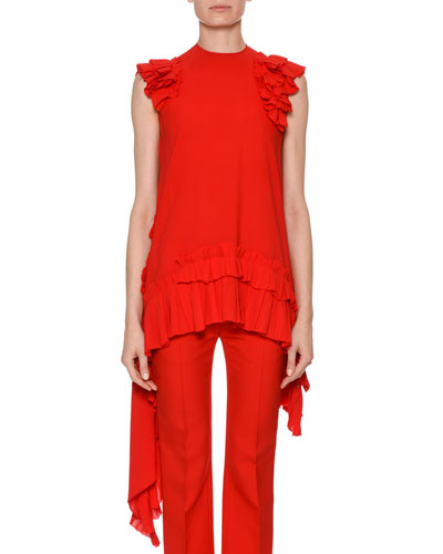 Sleeveless Asymmetric-Hem Blouse with Ruffled Trim