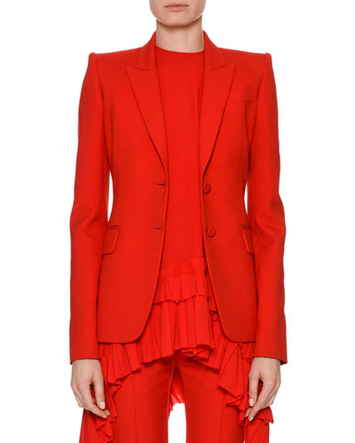 Peak-Lapel Two-Button Crepe Blazer