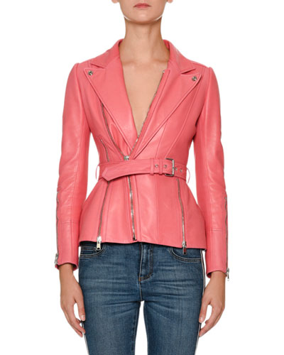 Peak-Lapels Belted Zip-Front Leather Moto Jacket