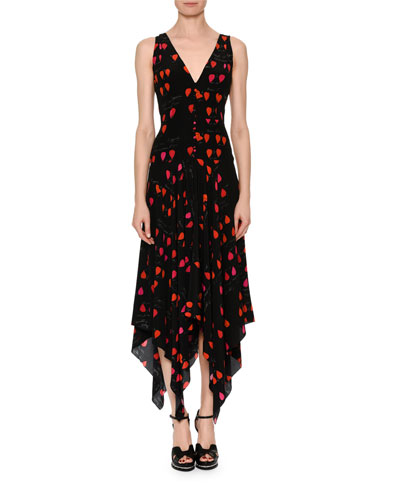 V-Neck Petal-Print Silk Crepe de Chine Dress with Handkerchief Hem