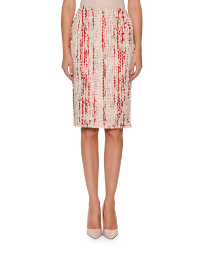 Tweed Pencil Skirt with Chiffon