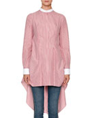 Mandarin-Collar Striped-Shirting High-Low Draped-Back Blouse