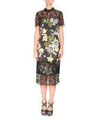 Short-Sleeve Floral-Print Sheath Midi Dress with Lace Yoke & Hem
