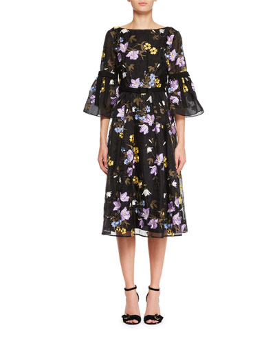 Floral-Embroidered V-Back A-Line Midi Dress