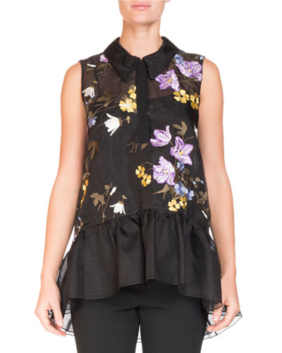 Sleeveless Floral-Embroidered Top with Ruffle Hem