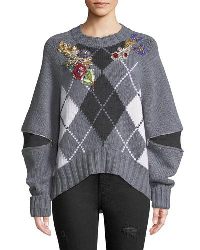 Bejeweled Zip-Open-Sleeve Argyle Wool Sweater