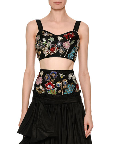 Sweetheart Jeweled Crop Corset Top