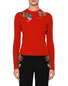 Crewneck Fitted Pullover Sweater with Jewel Embellishment