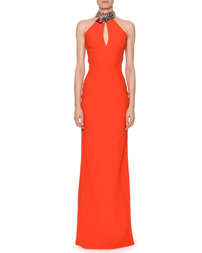 Sleeveless Jeweled Halter Column Satin Back Crepe Evening Gown