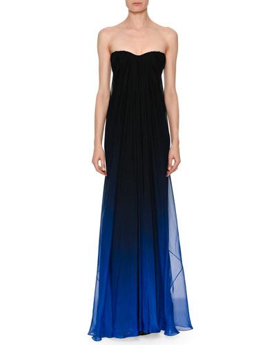 Strapless Sweetheart Chiffon Degrade Column Evening Gown