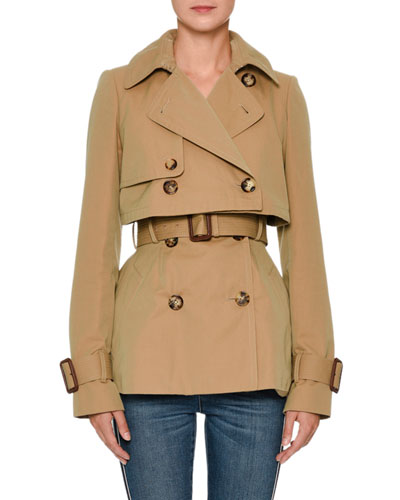 Double-Breasted Cotton Short Trench Coat