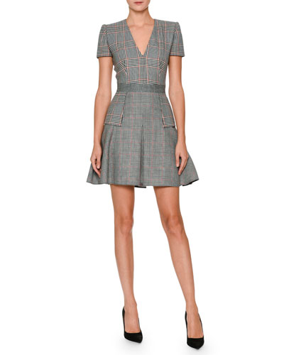 V-Neck Short-Sleeve Mixed-Plaid Dress