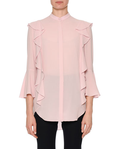 Button-Front Long-Sleeve Silk Georgette Blouse with Ruffle Detail