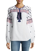 Figue Savanah Long-Sleeve Embroidered Cotton Blouse w/ Pompom