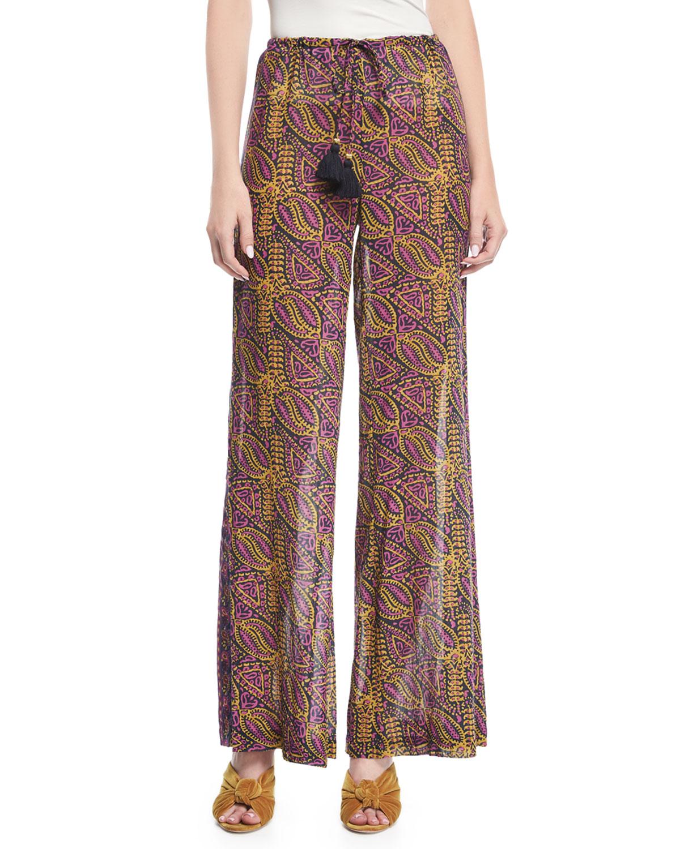 Estela Wide-Leg Lala Wallpaper-Print Crepe Pants