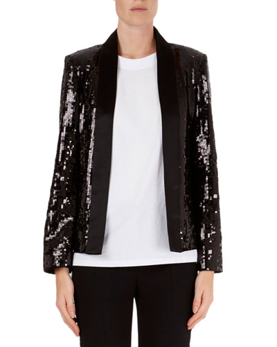 Sequin Open-Front Cardigan Jacket