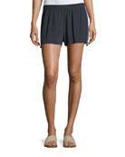 Cassia Flat-Front Tux-Detail Crepe de Chine Shorts
