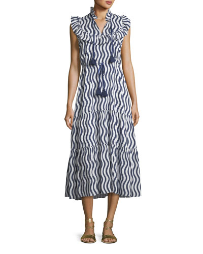 Lila Sleeveless River-Stripe Midi Dress with Tassel-Ties