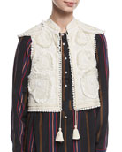 Manolete Beaded Embroidered Cropped Vest