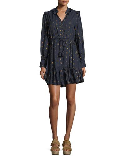 Emma Long-Sleeve Drawstring-Waist Metallic-Dot Mini Cocktail Dress