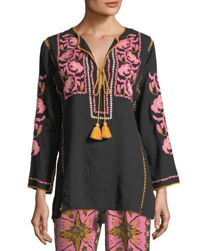 Split-Neck Tassel-Tie Cotton Gauze Top with Embroidery