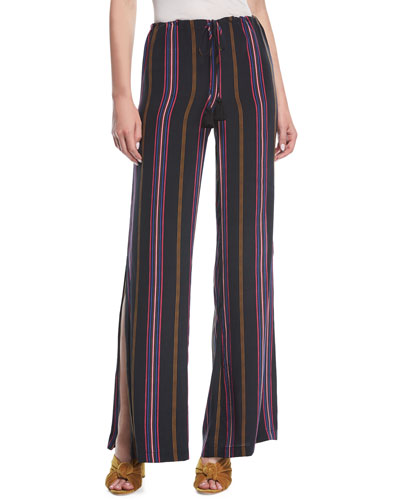 Simone Ashbury Stripe Wide-Leg Silk Pants