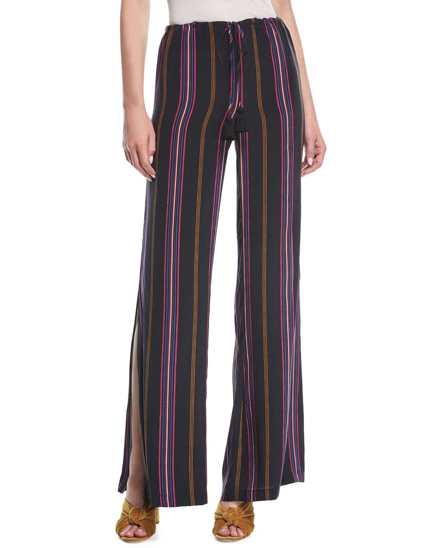 Simone Ashbury Stripe Wide-Leg Silk Pants