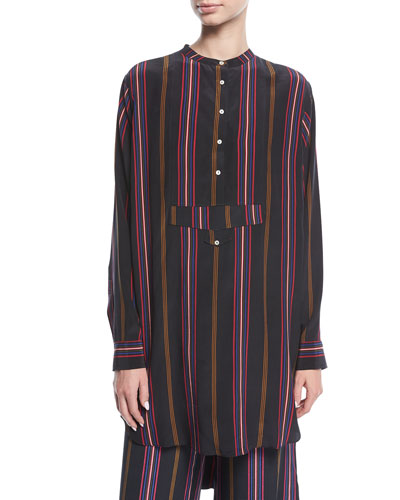 Thalie Ashbury-Stripe Long-Sleeve High-Low Tunic