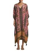 Eliza V-Neck Gypsy Batik-Print Kaftan Coverup