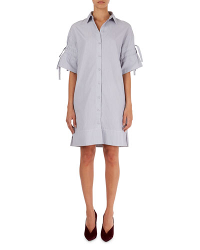 Pinstripe Poplin Shirtdress with Tie Sleeves