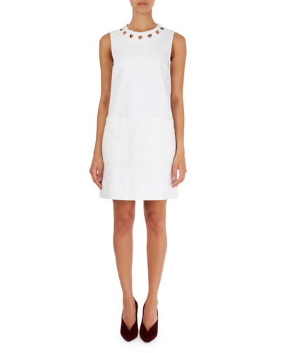 Cutout-Neck Shift Dress with Pockets