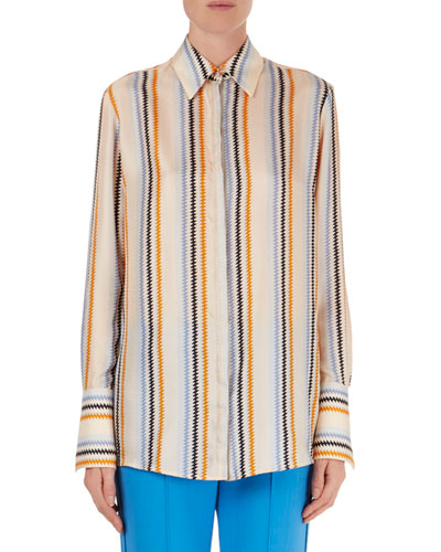 Zigzag-Stripe Silk Blouse
