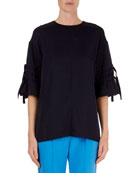 Crepe Drawstring-Tie-Sleeve Top