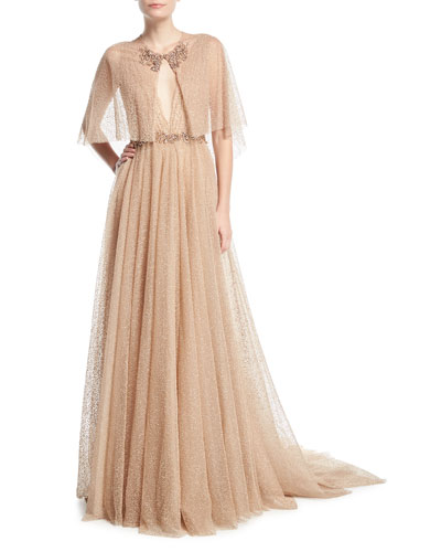 Plunging Evening Ball Gown with Beaded Waist and Cape