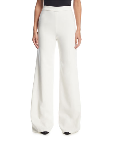 Wide-Leg Flat-Front Stretch-Crepe Pants