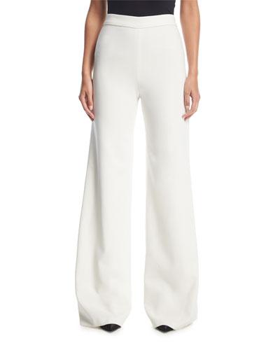 Wide-Leg Flat-Front Stretch-Crepe Pants