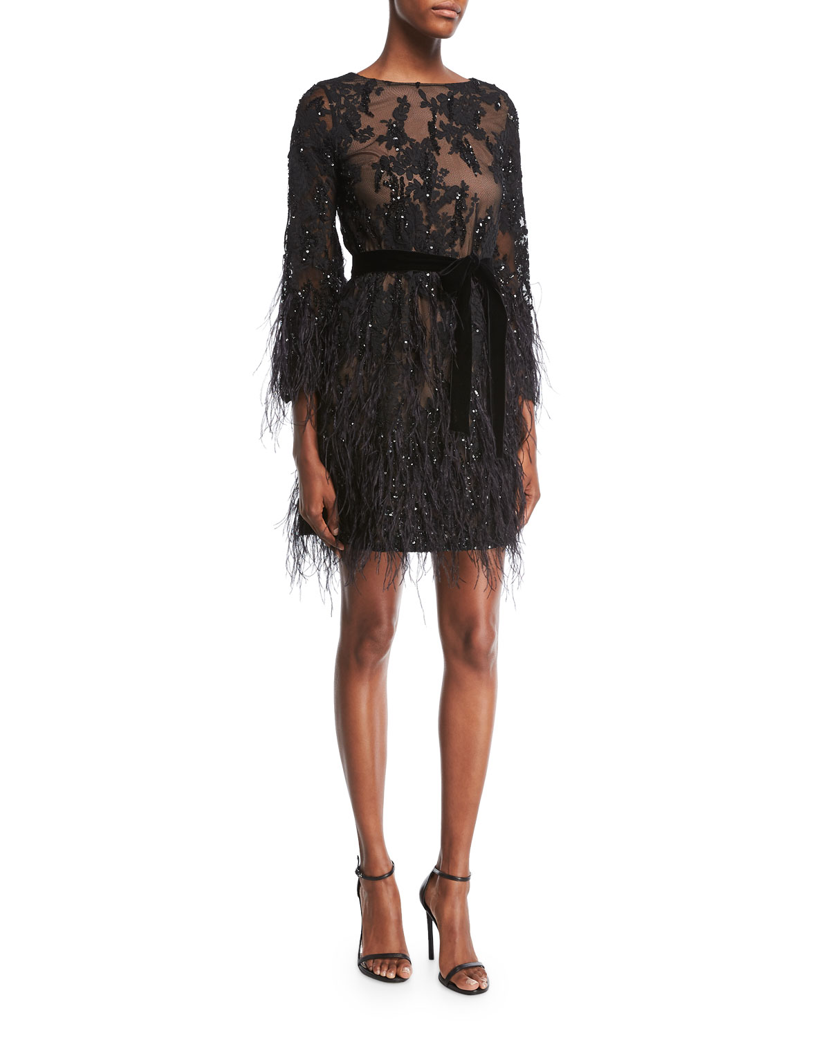 Long-Sleeve Feather Beaded Floral-Lace Cocktail Dress