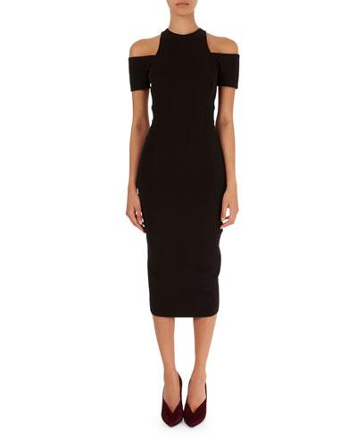 Cold-Shoulder Midi Dress