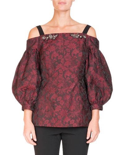 Off-the-Shoulder Bishop-Sleeve Floral-Jacquard Top with Jeweled Trim