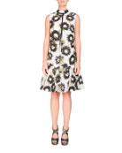 Nena Sleeveless Daisy-Print Mock-Neck Trapeze Dress