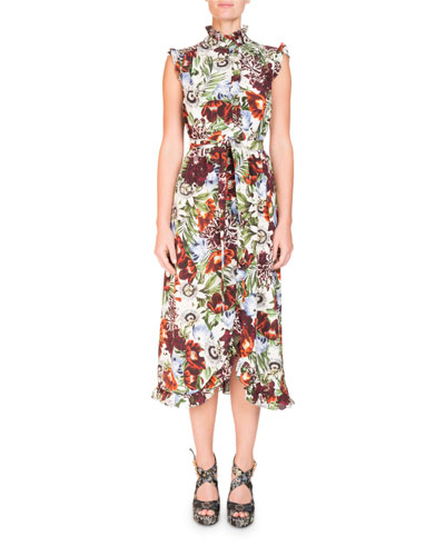 Mock-Neck Sleeveless A-Line Midi Dress with Ruffled Trim